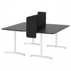 مكتب مع حاجز, قشرة خشب دردار طلاء أسود, أبيض  160x160 55 سم