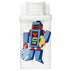 غطاء لحاف وكيس وسادة روبوت كبير رمادي فاتح
