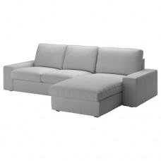 صوفا 3 مقعد, مع أريكة استرخاء,  رمادي فاتح