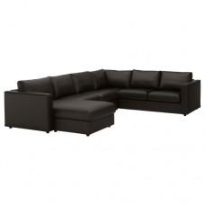 صوفا زاوية، 5 مقاعد بأريكة استرخاء أسود