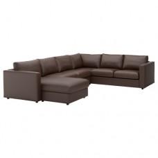 صوفا زاوية، 5-مقاعد, بأريكة استرخاء,بني داكن