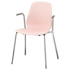 كرسي مع مسندين للذراعين لون زهري مطلي بالكروم