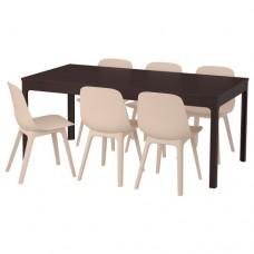 طاولة و6 كراسي, بني داكن, أبيض بيج