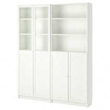 مكتبة مع أبواب/ألواح زجاج أبيض