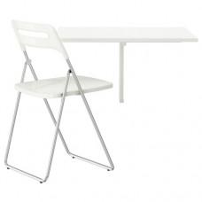 طاولة و1 كرسي أبيض مطلية بالكروم، أبيض