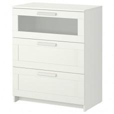 خزانة 3 جوارير لون أبيض  زجاج مصنفر