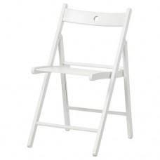 كرسي قابل للطي لون أبيض زان مصمت