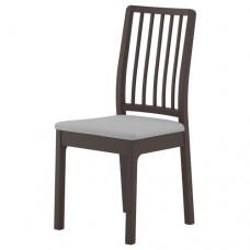 كرسي لون بني داكن القماش رمادي فاتح
