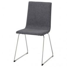 كرسي مطلي بالكروم-رمادي متوسط