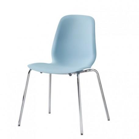 كرسي لون أزرق فاتح مطلي بالكروم
