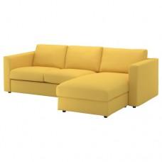 صوفا 3 مقعد, بأريكة استرخاء, ذهبي-أصفر