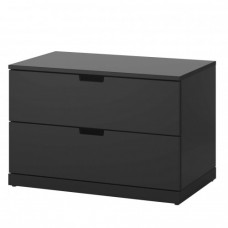 خزانة جارورين لون أسود 80x54 سم