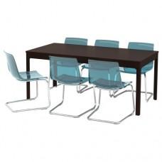 طاولة و6 كراسي بني داكن أزرق