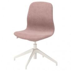 كرسي دوار لون بني فاتح وردي أبيض