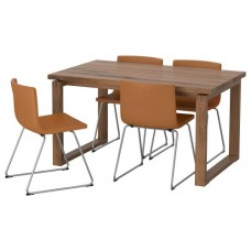 طاولة و4 كراسي قشرة بلوط  لون كراسي ذهبي بني