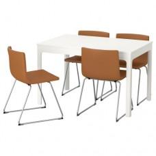 طاولة و4 كراسي أبيض لون الكراسي ذهبي بني
