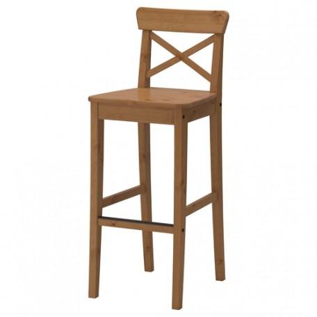 كرسي بار مع مسند ظهر لون خشبي 74 سم