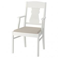 كرسي مع مسندين للذراعين لون أبيض بيج