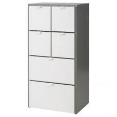 خزانة 6 جوارير لون رمادي أبيض