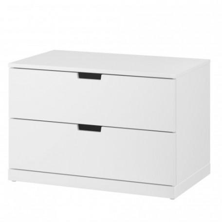 خزانة جارورين لون أبيض 80x54 سم