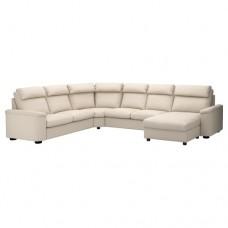 صوفا زاوية، 6-مقاعد, بأريكة استرخاء, بيج فاتح