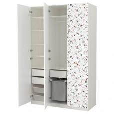 خزانة ملابس لون أبيض  نقش زهور 150x60x236 سم