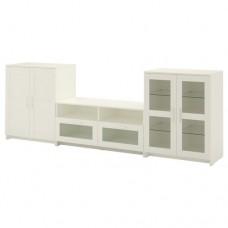 تشكيلة تخزين تلفزيون/ باب زجاجي, أبيض