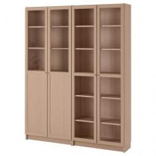 مكتبة مع أبواب/ألواح زجاج لون خشبي