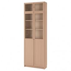 مكتبة مع وحدة لتمديد الارتفاع/أبواب/ألواح زجاج,بني