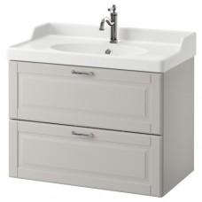 وحدة بدرجين لحوض الحمام رمادي فاتح(تشمل خزانه وحوض)
