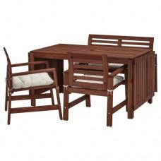 طاولة+2 كراسي بمسند للذراعين+ مقعد، للأماكن الخارجية بني/ مطلي (وسادة لون بيج او ازرق)