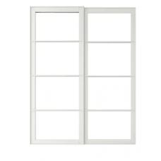 زوج من الأبواب الانزلاقية مع سكة لون أبيض 150x236 سم