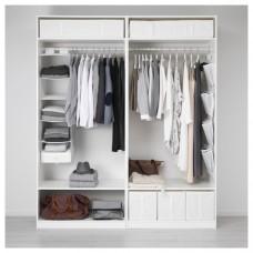 خزانة ملابس لون أبيض بدون أبواب