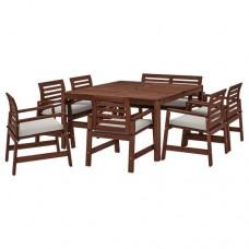 طاولة+ 6 كراسي بمساند للذراعين+ مقعد، للأماكن الخارجية بني/ مطلي (يشمل 8 مخدات)