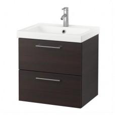 وحدة بدرجين لحوض الحمام فنجا (خزانه جارورين+حوض)