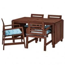 طاولة +4 كراسي ذات مسند للذراعين، للأماكن الخارجية بني/ مطلي (مخدات لون بيج او أزرق)