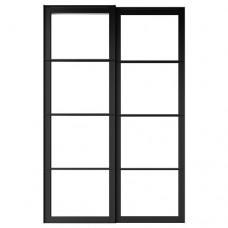 زوج من الأبواب الانزلاقية مع سكة لون أسود 150x236 سم