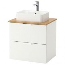 حوض غسل مع سطح عمل 32×45 حوض غسل أبيض الخيزران (يشمل خزانه+ سطح+ حوض)