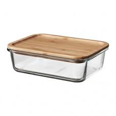 حافظة طعام بغطاء شكل مستطيل من الخيزران 1 لتر