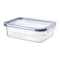 حافظة طعام بغطاء مستطيل بلاستيك 1 لتر