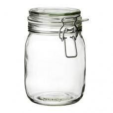 مرطبان مع غطاء زجاج شفاف 1 لتر