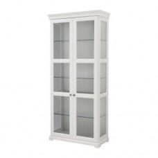 خزانة بباب زجاجي لون أبيض 96x214 سم