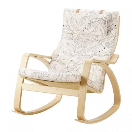 كرسي هزاز قشرة بتولا أسود/أبيض
