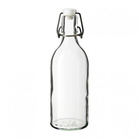 قنينة مع سدادة زجاج شفاف 1 لتر