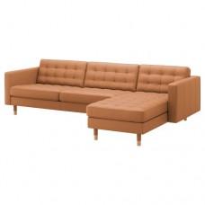 صوفا 4 مقعد لون بني-ذهبي/أرجل خشب