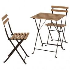 طاولة وكرسيين، للأماكن الخارجية سنط أسود رمادي بني مطلي ستيل