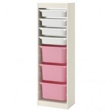 وحدة تخزين تشمل 4 صناديق صغار لون ابيض+3 كبار لون زهري