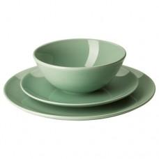 طقم تقديم 18 قطعة لون أخضر فاتح