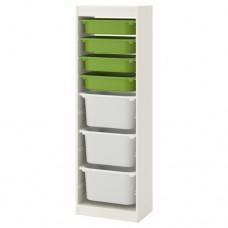 وحدة تخزين تشمل 4 صناديق صغار لون اخضر+3 كبار لون ابيض