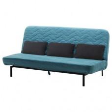 صوفا سرير مع وسادة ثلاثية, مع مرتبة إسفنج, لون أخضر/أزرق